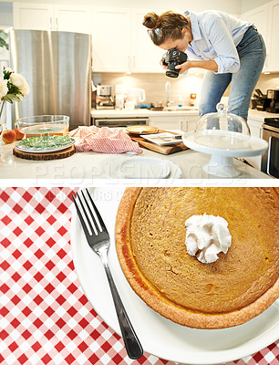 Buy stock photo Composite shot of a young woman taking a picture of a pie at home and the actual pie underneath it