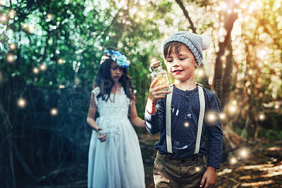 Buy stock photo Shot of kids in the forest