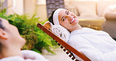 Buy stock photo Shot of two women enjoying a day at the spa