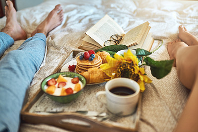 Buy stock photo Shot of a healthy breakfast on a serving tray