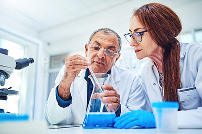 Buy stock photo Shot of two mature scientists conducting an experiment in a laboratory