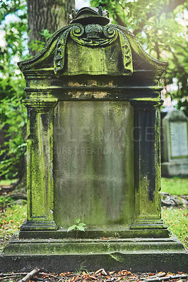 Buy stock photo Shot of a gravestone in a cemetery