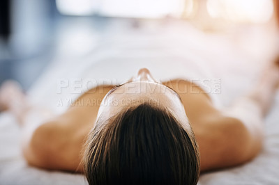 Buy stock photo Shot of an attractive young woman getting pampered at a beauty spa
