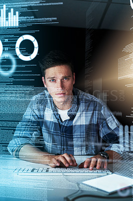 Buy stock photo Portrait shot of a handsome young male programmer at work