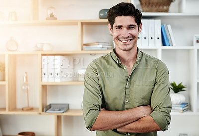 Buy stock photo Cropped shot of a young man working at home