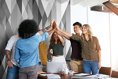 Buy stock photo Cropped shot of creative colleagues working in their office