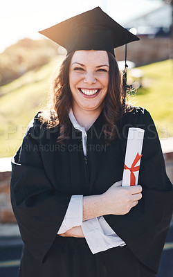 Buy stock photo Portrait of a young student on graduation day