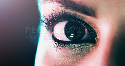 Buy stock photo Closeup portrait of a beautiful young woman's eye against a dark background