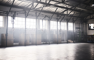 Buy stock photo Sill life shot of the interior of a gym