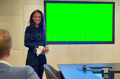 Buy stock photo Cropped shot of an attractive young businesswoman giving a presentation in the boardroom
