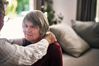 Buy stock photo Cropped shot of an affectionate senior couple dancing in their retirement home
