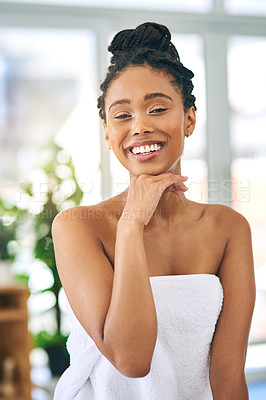 Buy stock photo Shot of an attractive young woman spending a relaxing day at a beauty spa