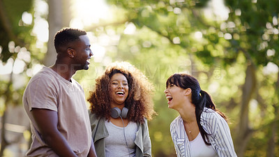 Buy stock photo Shot of a group of friends enjoying themselves in a park outdoors