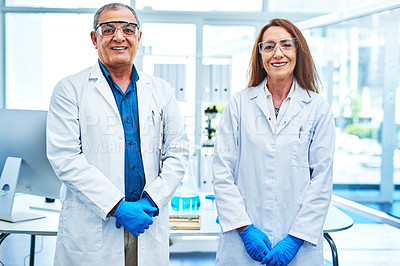 Buy stock photo Portrait of two scientists standing in a laboratory