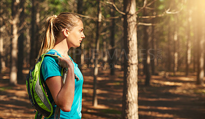 Buy stock photo Cropped shot of a sporty young woman out in nature