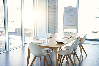 Buy stock photo Shot of an empty boardroom