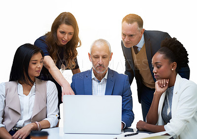 Buy stock photo Cropped shot of businesspeople working together on a laptop