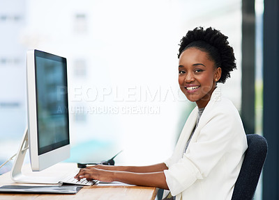 Buy stock photo Portrait of a businesswoman working on a computer in the ofice