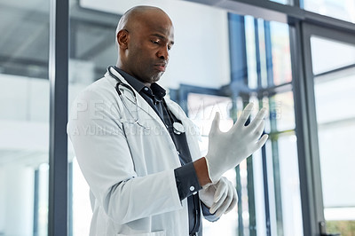 Buy stock photo Shot of a mature doctor putting on a surgical glove in a hospital