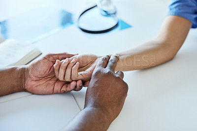 Buy stock photo Closeup shot of a doctor taking a patient's pulse
