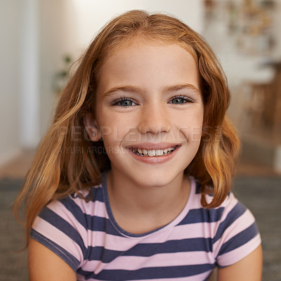Buy stock photo Portrait of an adorable little girl at home