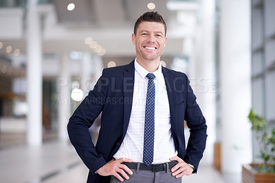 Buy stock photo Shot of a confident mature businessman working in a modern office