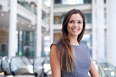 Buy stock photo Cropped portrait of an attractive young businesswoman in her office