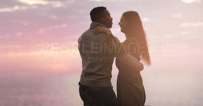 Buy stock photo Cropped shot of a happy young couple waltzing together outdoors