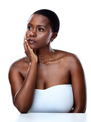 Buy stock photo Studio shot of a beautiful young woman striking a pose against a white background