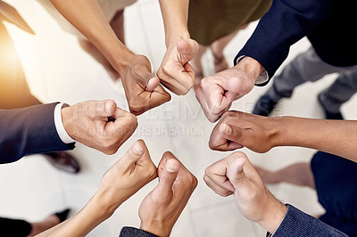 Buy stock photo Closeup shot of a group of businesspeople showing thumbs up together