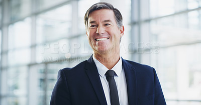 Buy stock photo Cropped shot of a mature businessman walking through a modern office