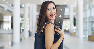 Buy stock photo Cropped shot of a young beautiful businesswoman in a modern office