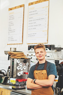 Buy stock photo Portrait of a confident young man working in a cafe