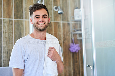 Buy stock photo Portrait of a young man getting ready in the bathroom at home
