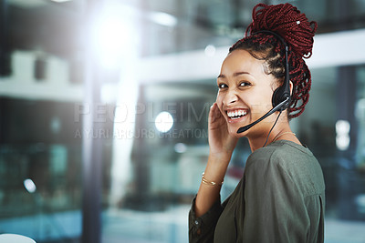 Buy stock photo Portrait of a young call centre agent working in an office