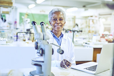 Buy stock photo Portrait of a mature scientist working on a laptop in a lab