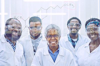 Buy stock photo Portrait of a group of scientists drawing molecular structures on a glass wall in an office