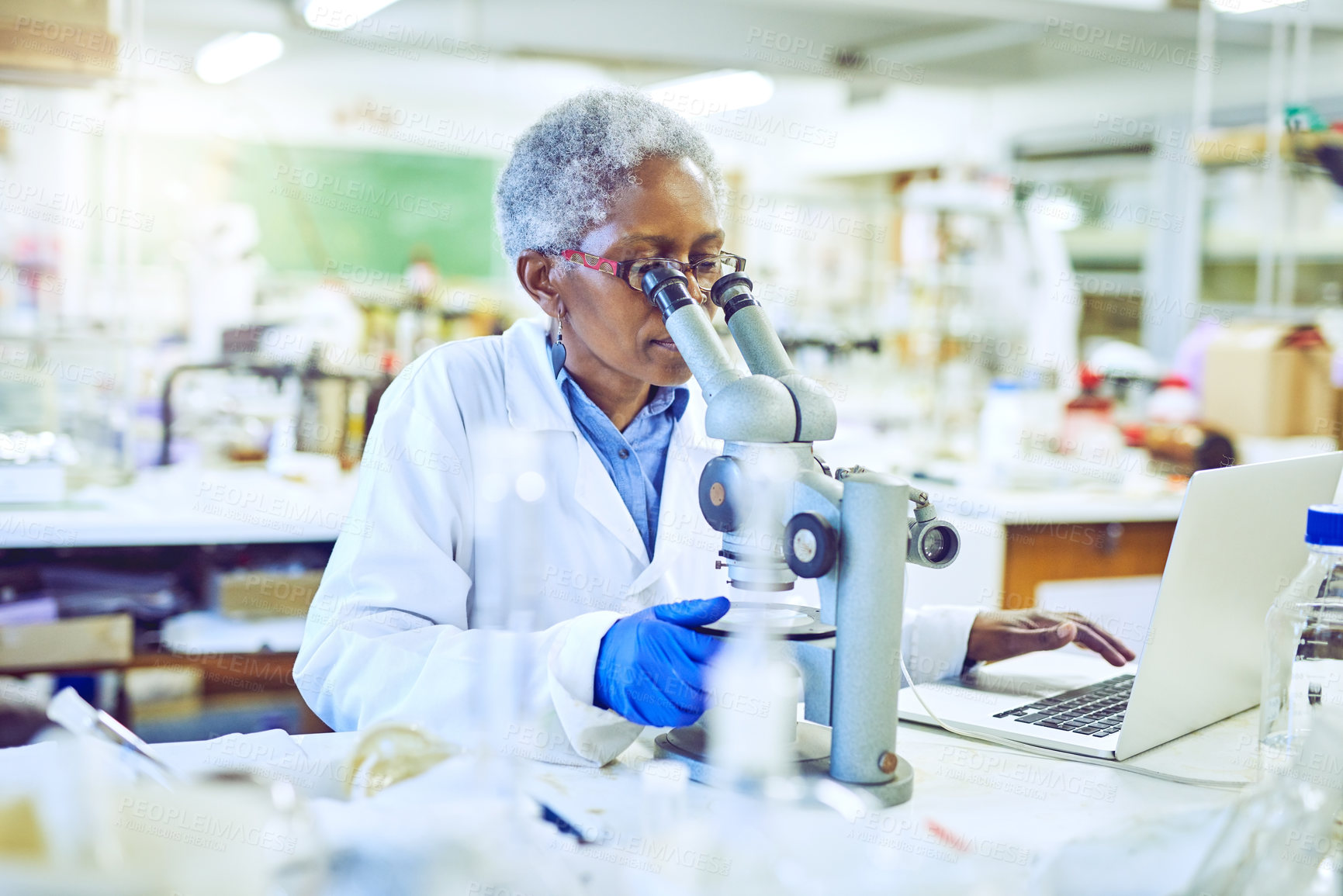 Buy stock photo Shot of a mature scientist using a microscope and laptop in a lab