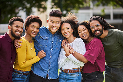 Buy stock photo Cropped shot of a group of friends standing together