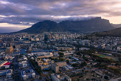 Buy stock photo Aerial shot of a coastal city in Cape Town