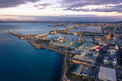 Buy stock photo Aerial view of the Victoria and Albert Waterfront in Cape Town, South Africa
