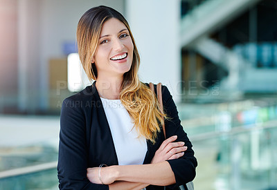 Buy stock photo Cropped portrait of an attractive young businesswoman standing in an office
