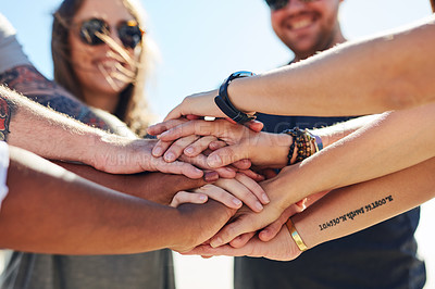 Buy stock photo Cropped shot of a group of people stacking their hands