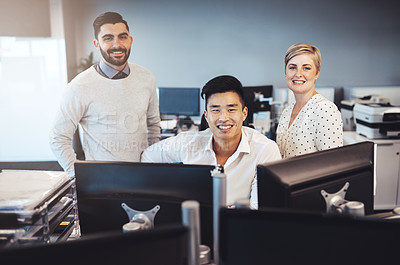 Buy stock photo Cropped portrait of three creative colleagues working together in the office