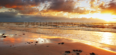 Buy stock photo A photo of beach and sunset
