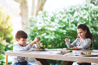 Buy stock photo Shot of two siblings being picky about eating the vegetables in their plates at lunch outdoors