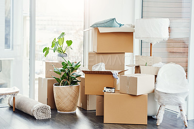 Buy stock photo Still life shot of an empty room in a house on moving day