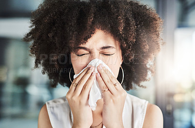 Buy stock photo Cropped shot of an stressed out young businesswoman blowing her nose with a tissue inside of the office
