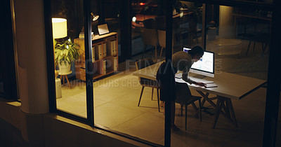 Buy stock photo Full length shot of a beautiful young businesswoman taking a phone call while working late in her office