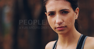 Buy stock photo Cropped shot of a young woman sweating excessively after her run